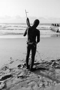 Diver Spear Gun Beach - stock photo