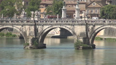 Canoe boat on Tiber river Sant'Angelo bridge tourists visiting Rome attractions. Stock Footage