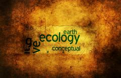 Ecology earth grunge concept - stock photo