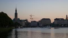 Hamburg City Binnenalster at beautiful sunset Stock Footage