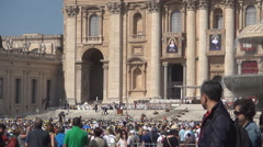 Rome Piazza San Pietro Vatican square religious meeting visited by tourists. - stock footage