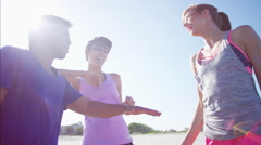 Smiling multi ethnic college friends having fun on their beach Stock Footage
