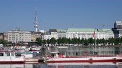 Hamburg City Jungfernstieg Binnenalster with Alster Boats Stock Footage