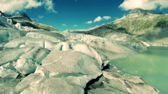 Aerial view of epic ice glacier landscape scenery Stock Footage