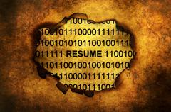 Resume paper hole grunge concept - stock photo