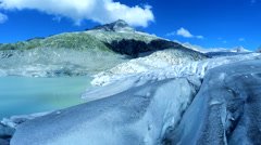 Aerial view of glacier ice lake landscape. global warming background Stock Footage