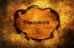 Teamwork paper hole grunge concept - stock photo