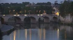 Rome night view old buildings architecture Vittorio Emanuele bridge Tiber river. Stock Footage