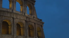 Rome ancient construction close view Colosseum museum walls at nightfall.  Stock Footage