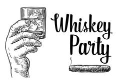 Male hand holding a glass with whiskey and ice cubes. Hand drawn design element - stock illustration