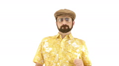 Young man dressing 70s yellow orange vintage clothes and hat dances - stock footage