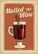 Mulled wine with glass of drink and ingredients.Vector old paper texture Stock Illustration