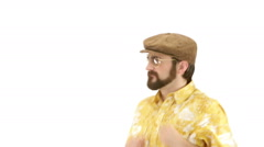 Young man dressing 70s yellow orange vintage clothes and hat dances Stock Footage