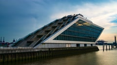 Modern building Dockland at the waterfront in Hamburg Time Lapse Stock Footage