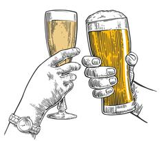 Two hands clink a glass of beer and a glass of champagne. Hand drawn design Stock Illustration