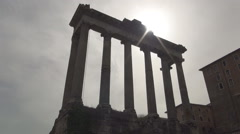 Rome Palatine Hill ancient columns ruins historical monument tourist attraction. Stock Footage