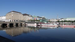 Hamburg City Center with Alster boats Stock Footage