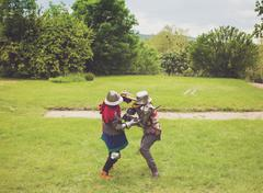 Medieval tournament between two knights Stock Photos