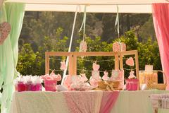Baptism decorations out in a park. - stock photo