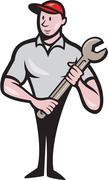 Mechanic Worker Standing Carrying Spanner Cartoon Stock Illustration