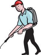 Pest Control Exterminator Spraying Cartoon Stock Illustration