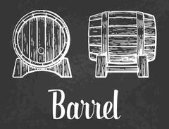 Wooden barrel set engraving vector illustration Stock Illustration