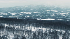 Static Shot Snowing in Hokkaido, Japan Mountains Stock Footage