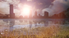 Skyline silhouette. riverside. water reflection. skyscrapers. nature lake sea Stock Footage