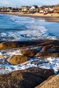 Punta del Diablo Beach, popular tourist site and Fisherman's place in the Uru - stock photo
