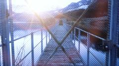 Closed locked door. bridge road pier. sunset dusk. Stock Footage