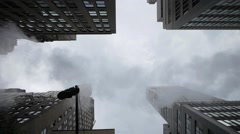 New york skyline smoke from street areal view 1080 HD Stock Footage