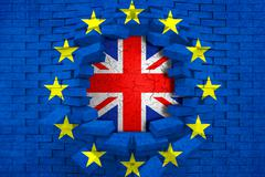 brexit blue european union EU flag on broken brick wall with hole and great b - stock illustration