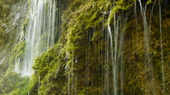Natural water. fresh spring waterfall. green nature Stock Footage