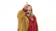 Middle age man dressing 70s brown red vintage clothes makes dance Stock Footage