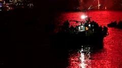 Festival of St John of Porto, tilt up during fireshow Stock Footage