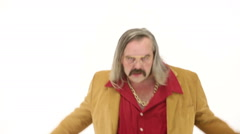 Middle age man dressing 70s brown red vintage clothes enter dances - stock footage