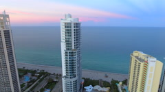 Aerial highrise buildings on the beach 4k Stock Footage