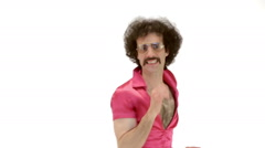 Curly hair man dressing 70s tight vintage clothes enter dances Stock Footage