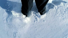 Walking in snow. feet foot steeps. winter sports. recreation activity. hiking Stock Footage