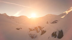 Flying trough snow landscape. winter nature. sunset. aerial view. fly over Stock Footage