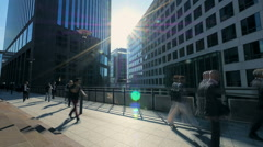 business people moving. real estate. business district. sunbeam silhouette - stock footage