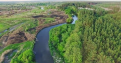 River panorama. High Aerial view. 4k 30fps Stock Footage
