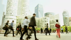 Business people going to work. commuters commuting. slow motion walking Stock Footage