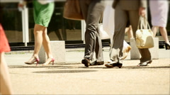Business people walking. slow motion. shoes fashionable. legs foots feet Stock Footage
