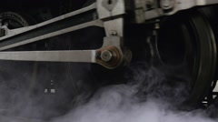 Close up of wheels of steam engine locomotive train Stock Footage