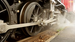 Industrial steel wheels of locomotive train Stock Footage