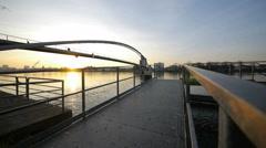 Day to night. time lapse. romantic sunset. bridge landscape Stock Footage