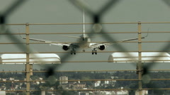 Plane landing. airport runway. plane airline. transportation Stock Footage
