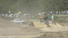 Autorally Among Young Athletes in Rough Terrain Stock Footage
