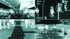 scanning split screen security camera view. surveillance. people persons - stock footage